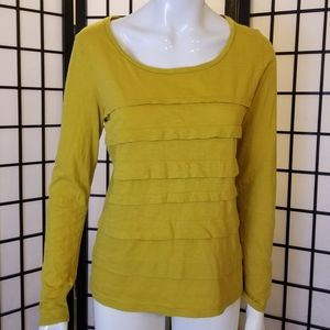 LOFT mustard cotton long sleeve top
